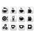 Coffee buttons set - vector image