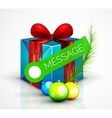 Gift box with Christmas ball toys vector image
