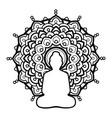 silhouette buddha over ornate mandala round vector image