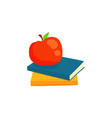 two books and red apple cartoon vector image