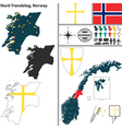 Map of Nord Trondelag vector image vector image