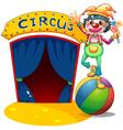 A clown balancing above the air ball vector image vector image