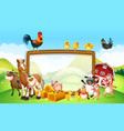 frame design with farm animals vector image vector image
