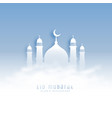 eid mubarak background with mosque and clouds vector image