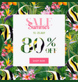 summer sale tropical flowers and fish banner vector image