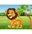 Cartoon funny lion walking in jungle background vector image