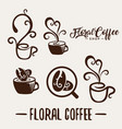 floral coffee shop logo template natural abstract vector image