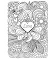 heart on flowers vector image