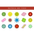 isolated set of flat icons of microscopic vector image