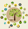 Tree with Ecological Icons vector image