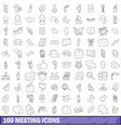 100 meeting icons set outline style vector image