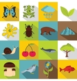 Nature items icons set flat style vector image