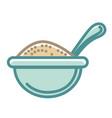 big blue bowl of healthy porridge with spoon vector image