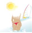 beach woman and windsurf vector image