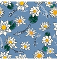 Seamless pattern with koi carp and flowers lotus vector image