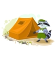 Summer holiday camp Scout raccoon standing near vector image