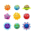 Fantastic planets with faces and emotions Objects vector image vector image