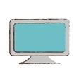 blue screen computer equipment office sketch vector image