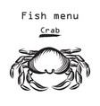 crab icon seafood sign fish menu restraunt cover vector image
