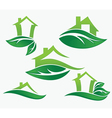 set of ecological city and homes vector image vector image