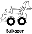 Bulldozer with hand draw vector image