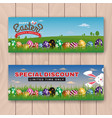 happy easter web banner with painting eggs vector image
