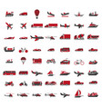 vehicles of all kinds big set in red vector image