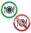 Eating permission signs set vector image