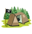 brown camping tent with pirate flag vector image