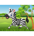 Happy zebra running in the jungle vector image