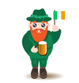 Bearded gnome with beer and irish flag vector image