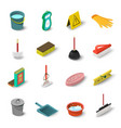 cleaning icons set isometric style vector image