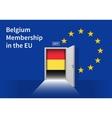 European Union flag wall with Belgium flag door vector image