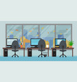office room with workplaces big window and autumn vector image