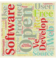 Open Source 1 text background wordcloud concept vector image