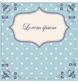 Polka dot blue background with banner and frame vector image