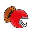 scribble football helmet and ball vector image