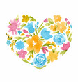 watercolor abstract floral heart vector image