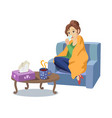woman suffering from cold flu concept vector image vector image