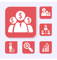 Business flat red icons vector image