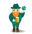 Bearded gnome with beer and shamrock vector image