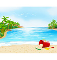 Ocean view with bucket on the sand vector image vector image