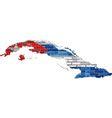 Cuba map on a brick wall vector image