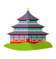 oriental building isolated on green grass on white vector image