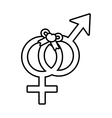 pictogram male and female together bow symbol vector image