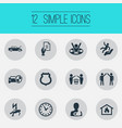 set of simple safeguard icons vector image