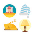 sleep icons lamp set vector image