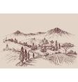 Vineyard sketch Wine label design Rural landscape vector image vector image