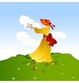Woman on grass with bird vector image vector image