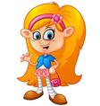 cute girl shopping cartoon vector image